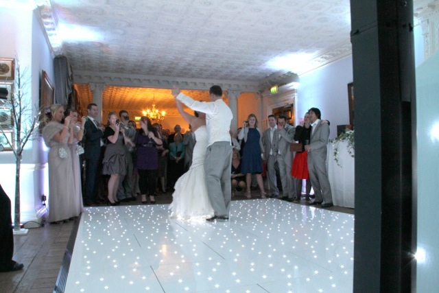 Couple on White Dance Floor at Chilston Park